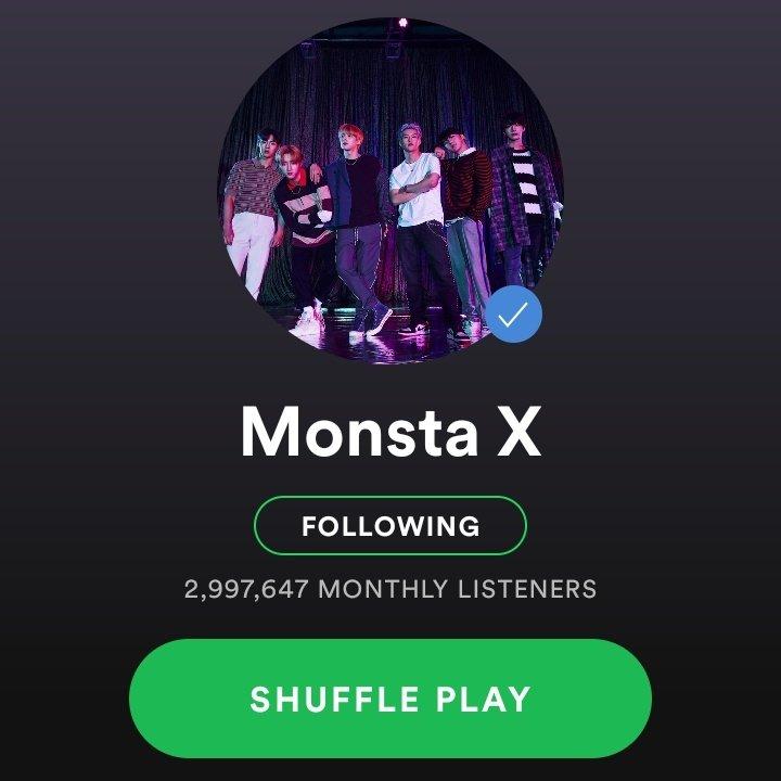 Queridas monbebes, debemos hacer stream en Spotify y mantenernos así, los chicos estuvieron a punto de llegar a los 4M, pero bajaron a 3M y de ahí a 2.9M Debemos ser constantes si queremos que los chicos sigan subiendo 💗 Por favor 🥺 #MONSTAX #MONSTA_X #MONBEBE @OfficialMonstaX