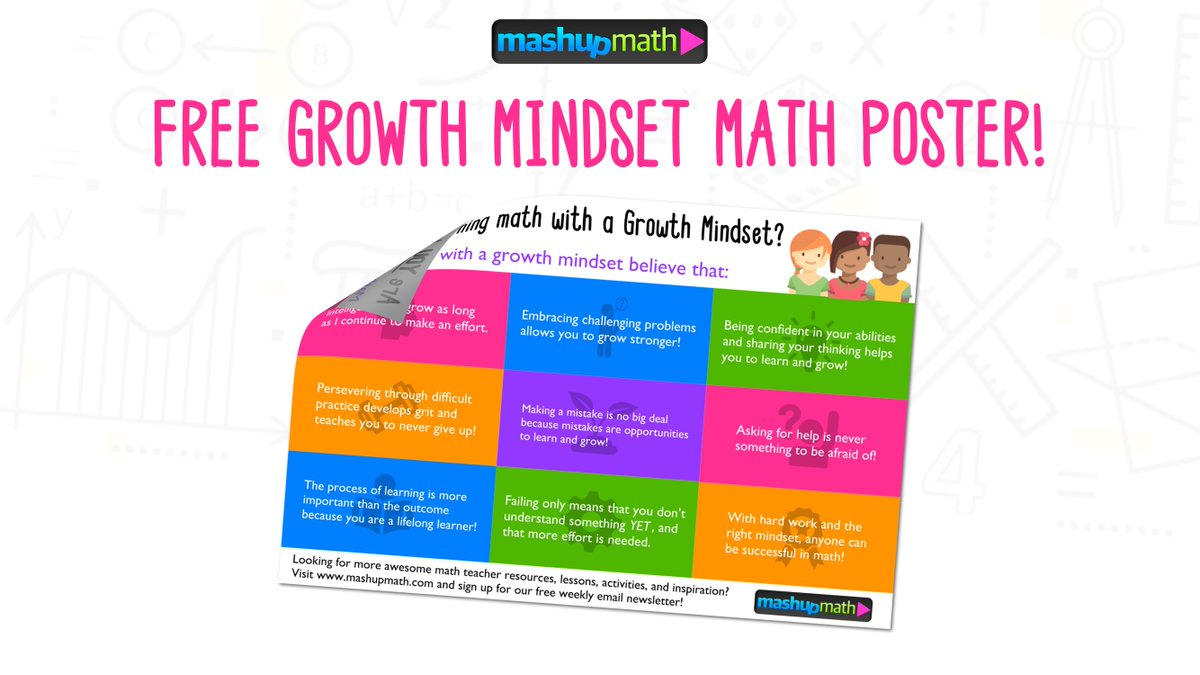 Here's a free printable #GrowthMindset math poster to display in your classroom! bit.ly/2flKVa0 #iteachmath
