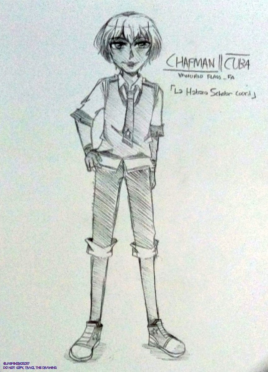 [ WF - La Habana Scholar  ]  Sketch version of Chapman in his casual wear! His clothing is a mix of being scholar and trendy! #worldflags_fapic.twitter.com/QIBf2h0btX