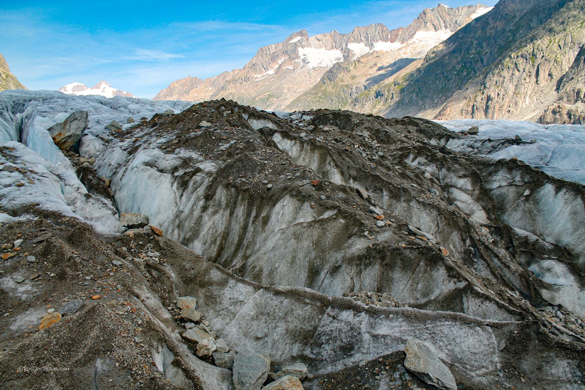 Hiking across a #glacier is fascinating and terrifying! Try it safely behind your computer at http://rocdoctravel.com. #geology #travel #Switzerland #trails #hiking #tectonics