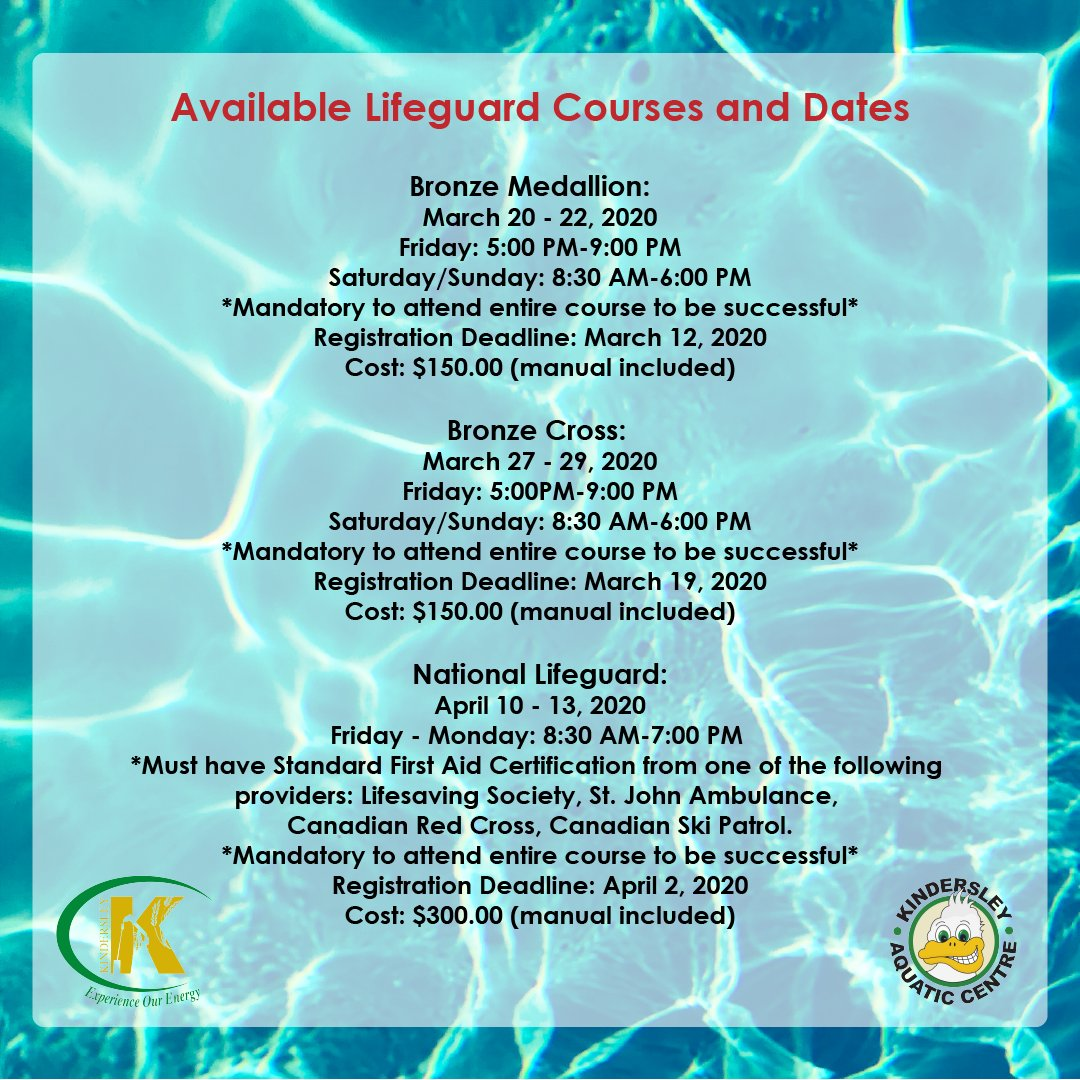 Interested in completing the required courses and becoming a lifeguard? See http://Kindersley.ca for more! #15yearsold #lifeguard #lifeguards #courses #lifeguardcourse #lifeguardcourses #redcross #redcrosslifeguard #redcrosslifeguards #redcrosslifeguardclass #training #classpic.twitter.com/WOiyUUs1r8
