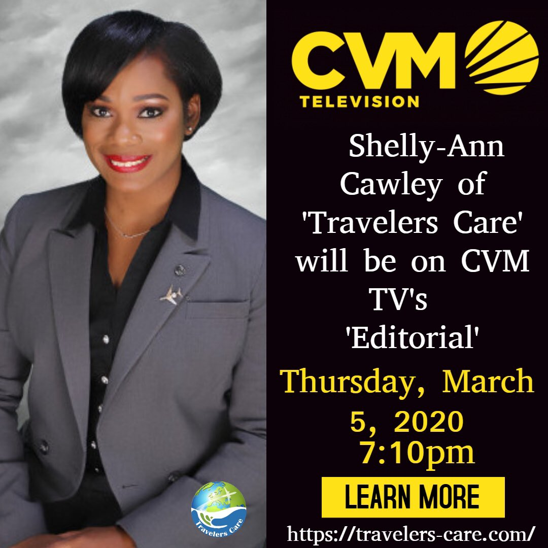 """Be sure to watch @cvm_television """"Editorial"""" on Thursday March 5th at 7:10pm. The Editorial Team and I will be discussing Travel Issues. Yard or abroad watch live at   #travel #travelerscare #media #jamaica #elderly #seniorcitizen #kids #disabilities #news"""
