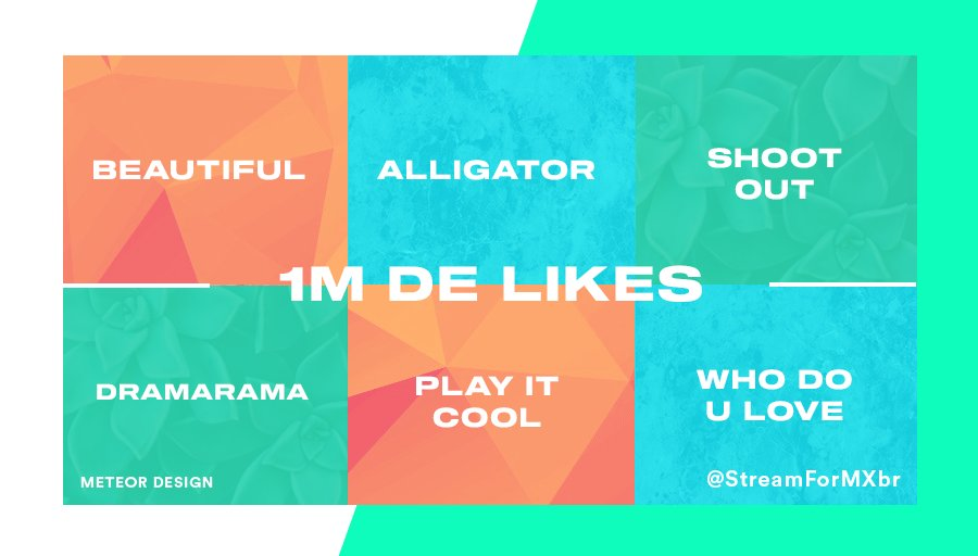 [ UPDATE - METAS DE LIKES ]  Beautiful ~ 881.582 Alligator ~ 746.125 Shoot Out ~ 955.443 Dramarama ~ 988.283 Play it Cool ~ 984.516 Who Do U Love ~ 969.063  @OfficialMonstaX #MONSTA_X