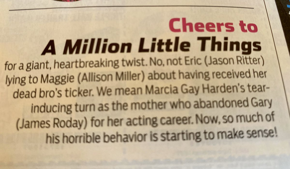 @heydjnash congratulations! You made the cheers section of TV Guide. #AMillionLittleThings