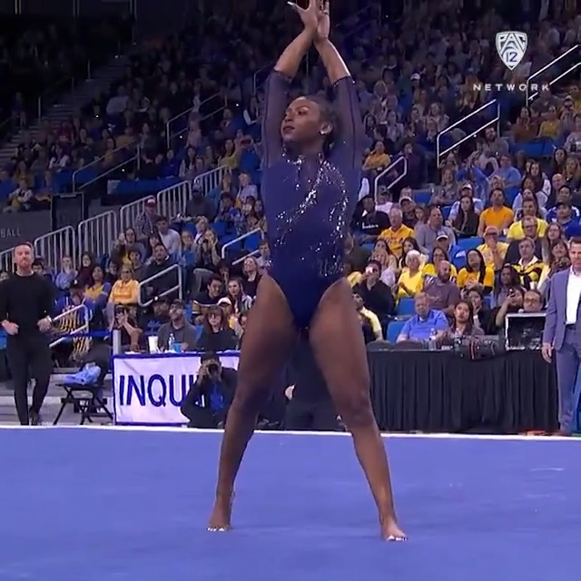A homecoming performance that would make @Beyonce proud! @DennisNia made us lose our breath with her 9.975 on floor exercise last weekend in Pauley.   Who else is crazy in love with her routine? 😍