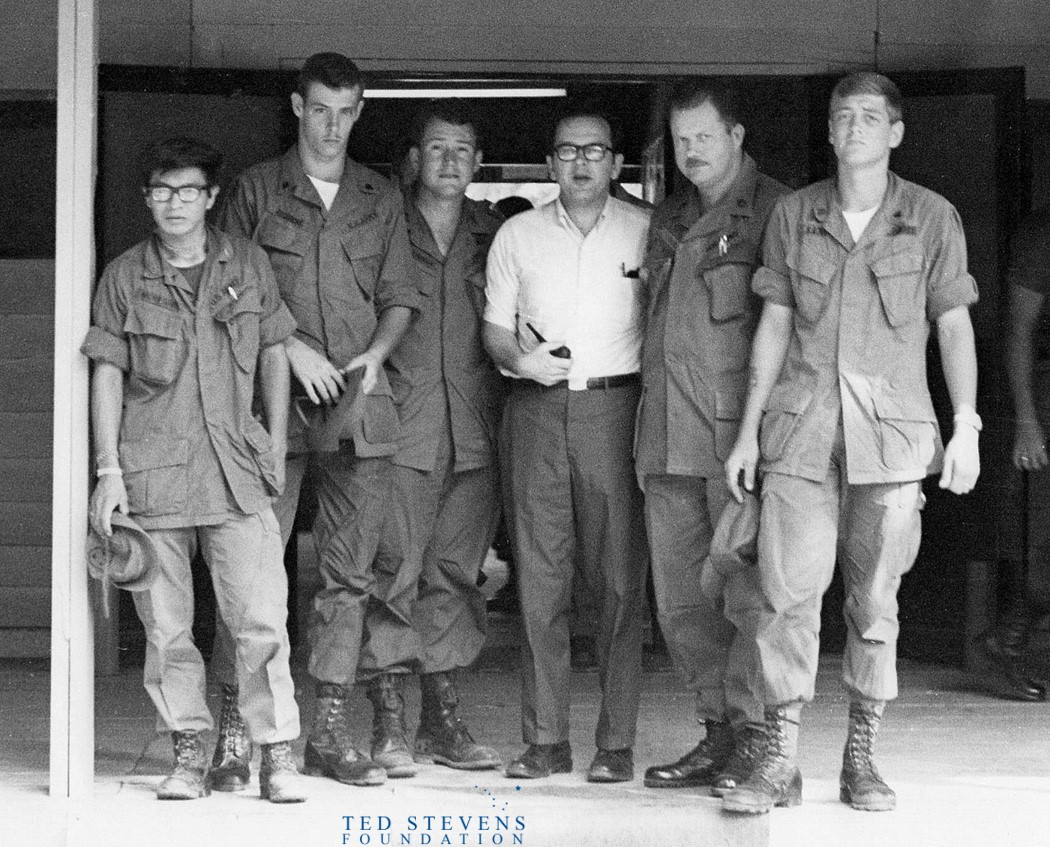 #ThrowbackThursday to a May 1971 trip to Vietnam. Senator Ted Stevens is pictured here at Firebase Tomahawk & Cam Rahn Bay Support Command with soldiers and commanders.  Stevens Foundation photo