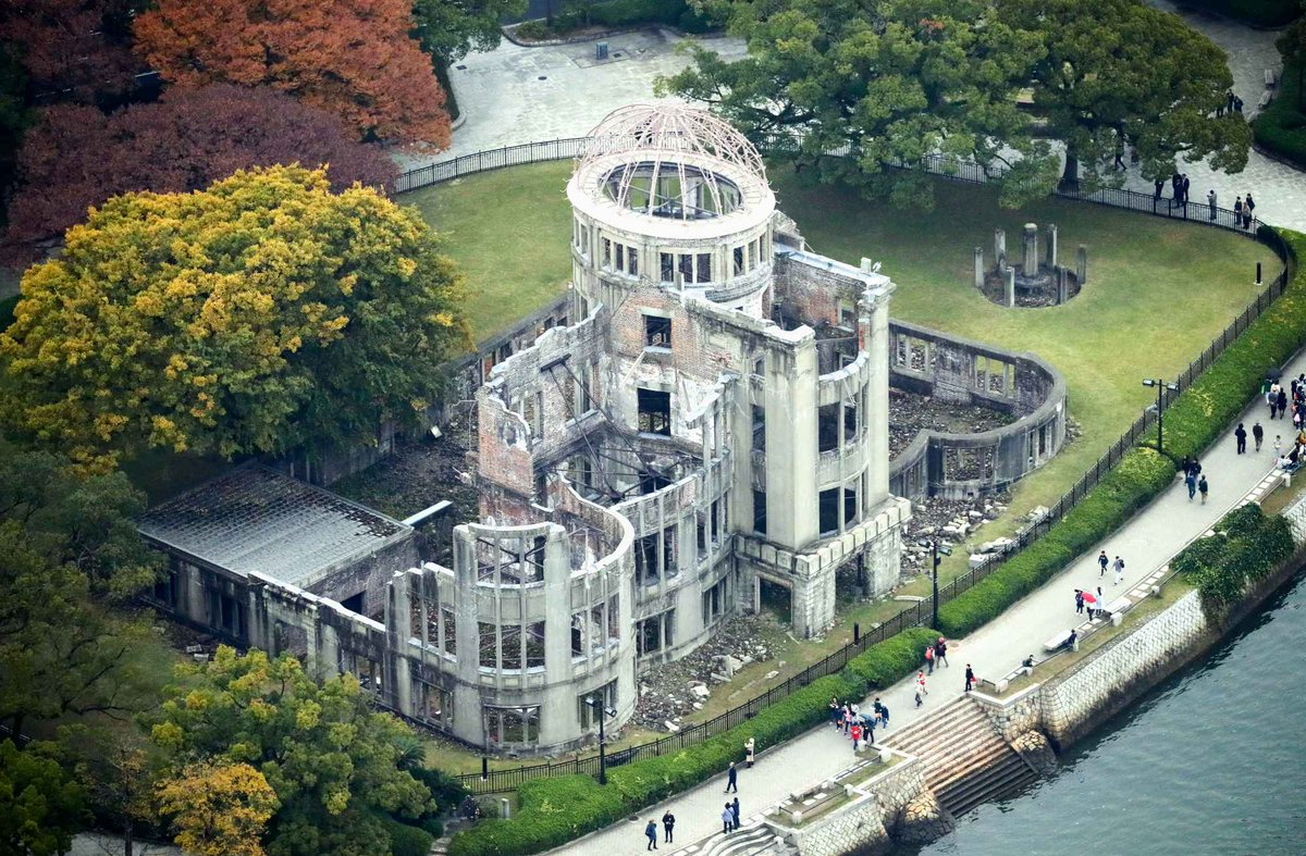 Aerial view of Atomic Bomb Dome. Hiroshima, Japan, Silk Road.  #silkroad #NGSilkRoad