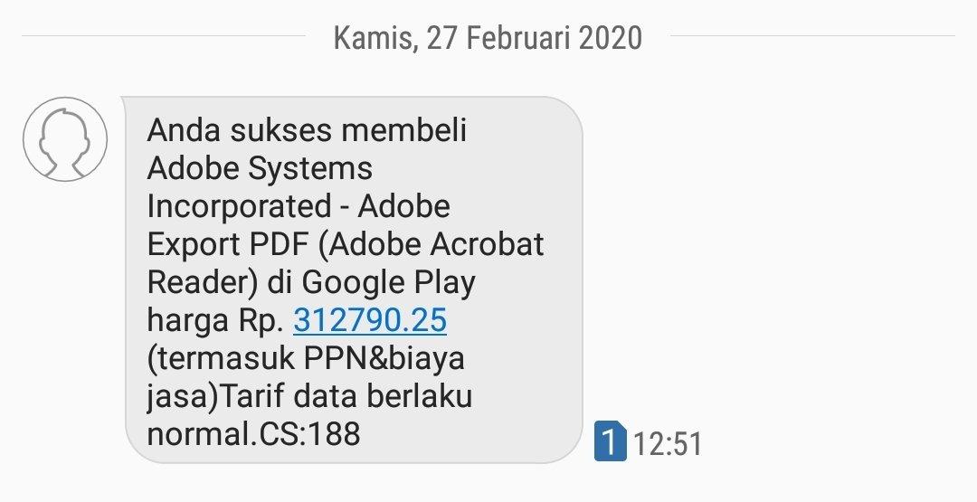 Hallo @Telkomsel, saya mendapat sms tentang transaksi pembelian aplikasi, namun saya tidak nerasa memesannya. Mohon informasi terkait transaksi tersebut: dipesan kapan melalui perangkat apa dll. Berikut saya lampirkan sms nya. Terima kasih.. pic.twitter.com/gfHRSLxGnG