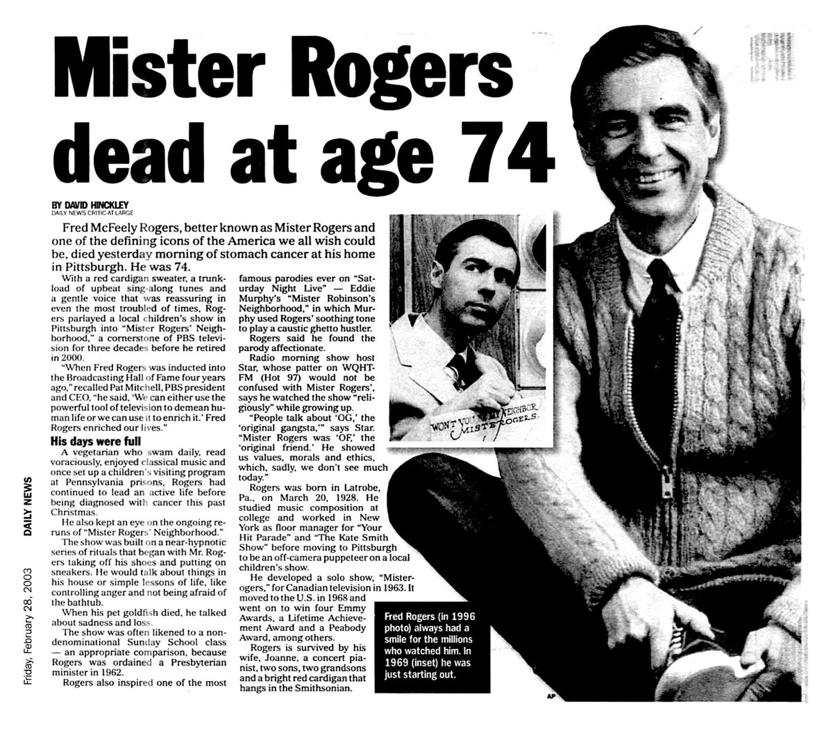 Retronewsnow On Twitter On February 27 2003 Fred Mcfeely Rogers Died At The Age Of 74