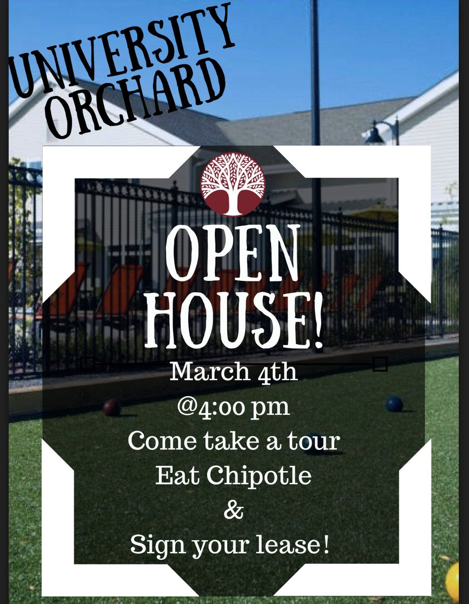 Join us on Wednesday March 4th after the housing fair for our open house!  Come sign/renew your lease, take a tour, and enjoy some Chipotle!#liveyourbestlife <br>http://pic.twitter.com/4Mn4izHesk