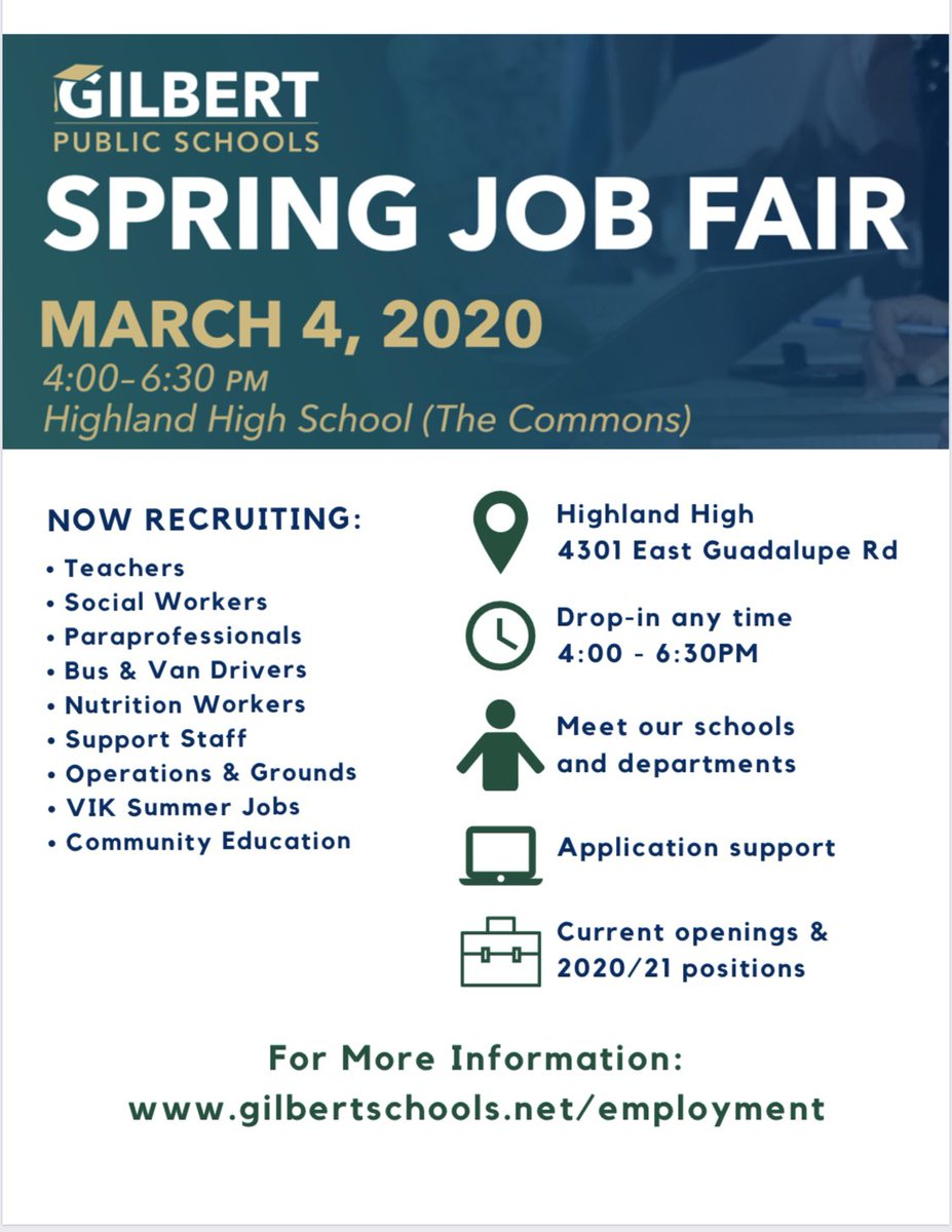 Did you know Gilbert Public Schools was voted 2019 Employer of Choice by the Gilbert Chamber of Commerce?! Join us on March 4th to meet our team and learn more about the many employment opportunities available at Gilbert Public Schools. #connectcreatecarepic.twitter.com/G81hihK3S9
