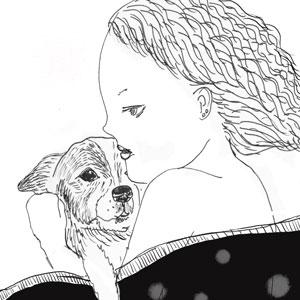 ぬくぬくのもふもふ🐕 あたたかい。  #drawing #artwork #girl #dog #犬