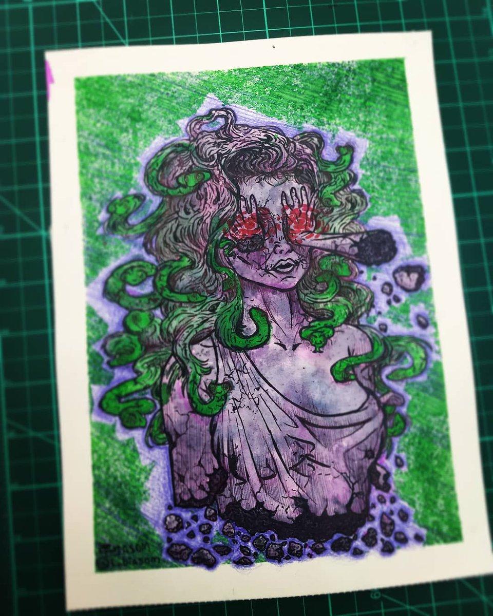 Finalmente terminei essa Medusa!!  #aquarela #watercolor #ink #tinta #mitologia #medusa #art #artist #color #coloredpencil #cobra #snakes #pencil #pincel #colorido #cor #cores #arte #statue #estatua #mulher #women #cabelo #hair #tecnicamista #desenhando #desenho #draw #drawing