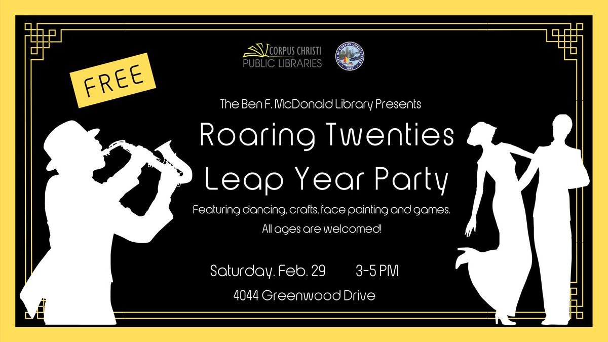 Looking for something to do with the kids this weekend? The Ben F. McDonald Public Library will celebrate an extra day of the year at a Roaring 20s Leap Year Party. 🎵🕺 👉 Learn more: bit.ly/2T9djRH #CClibraries