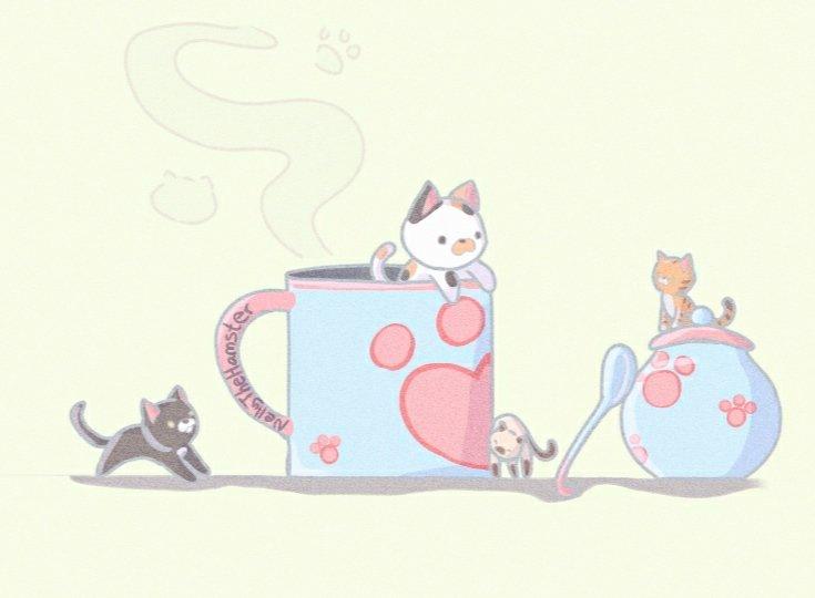 Miau-gico café  Meow-gical coffee  #cat #Kitten #kittens #Coffee #drawing #catdrawing #ibispaint #dibujos