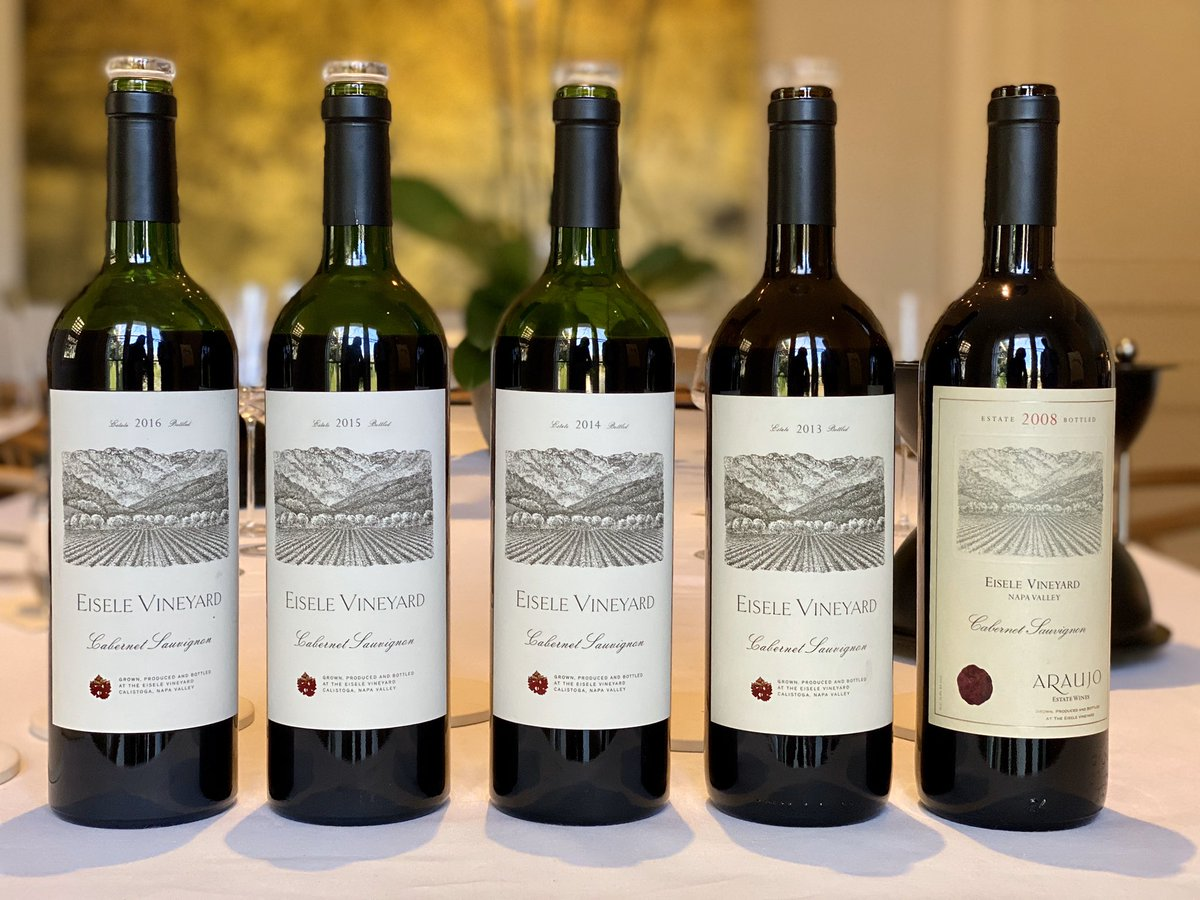 Vertical of Eisele Vineyard shows that the new owners are taking this wine from strength to strength. The 2016 is glorious and 2015 is not far behind! Note: Label design change after 2013 #eiselevineyard #napavalley #cabernetsauvignon #vertical #winetasting #winelover #wine