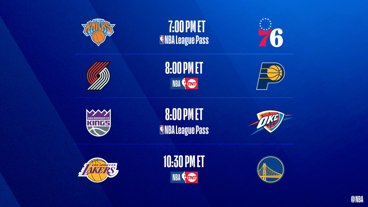 Four-game slate TONIGHT    76ers seek 28-2 at home  Blazers, Kings look to keep pace in playoff race  Lakers pursue 7th W in a row  : @NBAonTNT  : NBA League Pass :  http:// nba.app.link/NBA_League_Pass     <br>http://pic.twitter.com/oSWps7jZpu