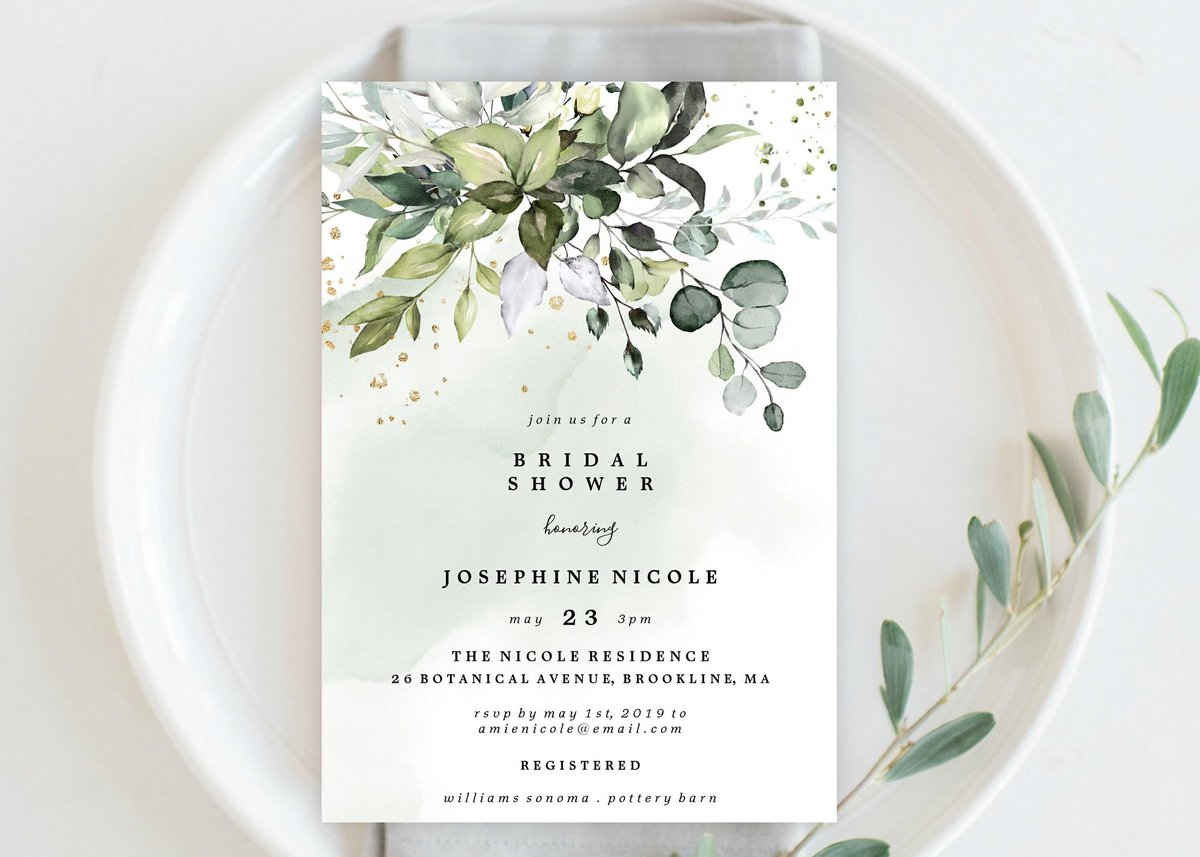 #etsy shop: Bridal Shower Invitation Editable Template INSTANT DOWNLOAD All Season Bride To Be Rehearsal Dinner Botanical Leafy Eucalyptus Boho TEMPLETT #papergoods #bridalshower #white #flat #vertical #allseasons #bridalevening #bridalmeal https://etsy.me/396VR5P