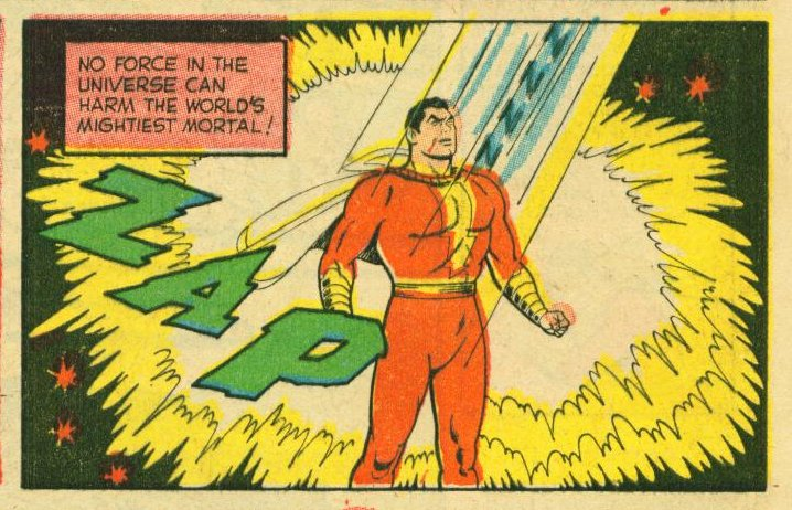 """""""You often say pre-Crisis Captain Marvel is the most powerful version of the character. Could Superman kill Captain Marvel like he did in Injustice?""""  No.  Pre-Crisis Captain Marvel has complete invulnerability and can't be hurt by Superman's heat beams. <br>http://pic.twitter.com/rSNWLRu15k"""