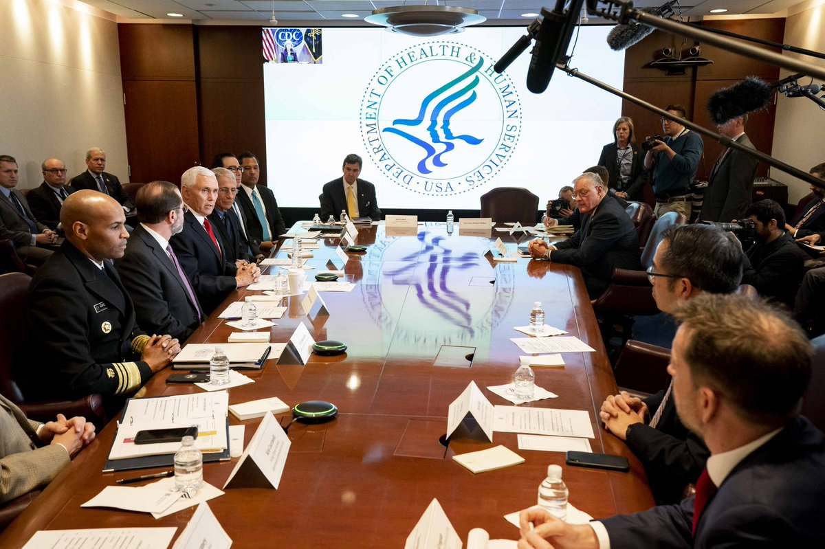 Today, I led a meeting of the White House Coronavirus Taskforce at @HHSgov. Grateful for the work of @SecAzar, @Surgeon_General, @NIH Dr. Fauci and more. As President @realDonaldTrump said, we're ready and we'll continue to put the health and safety of the American people first.