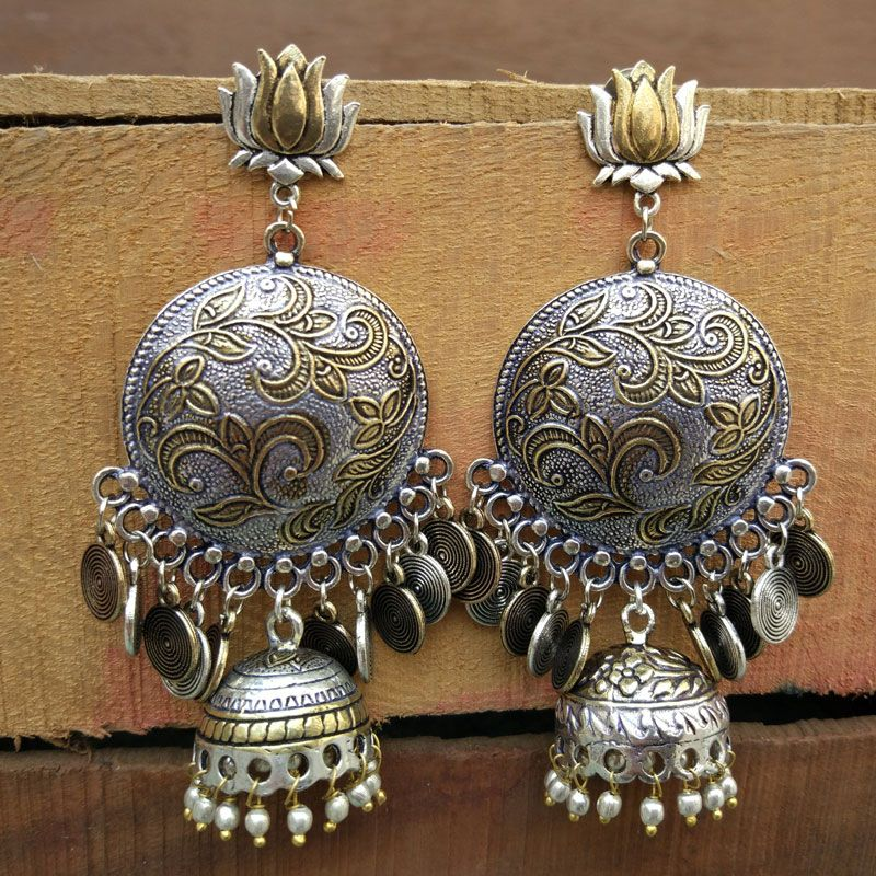 Dual Toned Oxidised Silver Chandbali Earring   .. #oxidised #oxidise #oxidized #oxidisedjhumkas #oxidisedsilver #oxidisedearrings #oxidisedjewellery #oxidisedsilverjewellery #oxidisedjhumka #oxidisedearring #oxidisedjewelry #oxidisedearings #oxidisedchoker #oxidisedstudspic.twitter.com/ZwDi9pTvQI