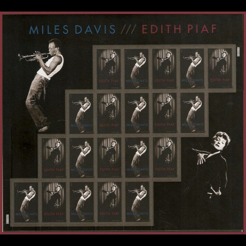 My favorite modern US issue. Just love the whole design and layout - the 2 performers with similar postures; the pattern of the stamps mimicking the curvature of the bodies; Davis balancing on the top edge of the stamp. Perfect. #philately #milesdavis #stampcollection<br>http://pic.twitter.com/fm641F7ICs