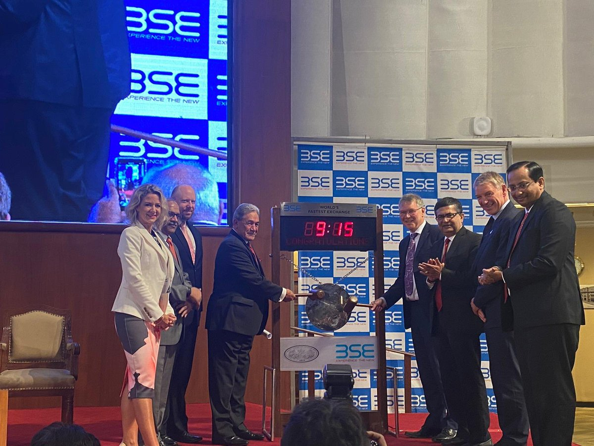 Fantastic start to last day of #NZIndiaTradeMission at @BSEIndia. Ministers @winstonpeters &  @DavidParkerMP, reps of BSE, @ficci_india & business delegates formally opened stock exchange by ringing bell at 9.15am, marking start of the day at the world's fastest stock exchange! pic.twitter.com/eAQAuzIgDW