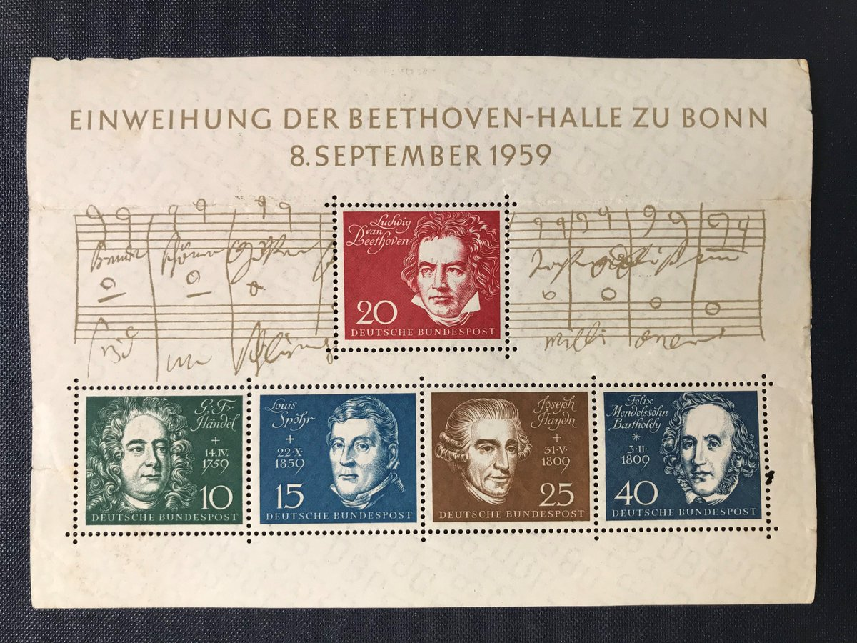 1959: Inauguration in Bonn of the Beethoven-Halle. This block of #stamps issued by Federal Republic of Germany in tribute to the greatest composers of classical music. #philately <br>http://pic.twitter.com/C19xmsCFOc