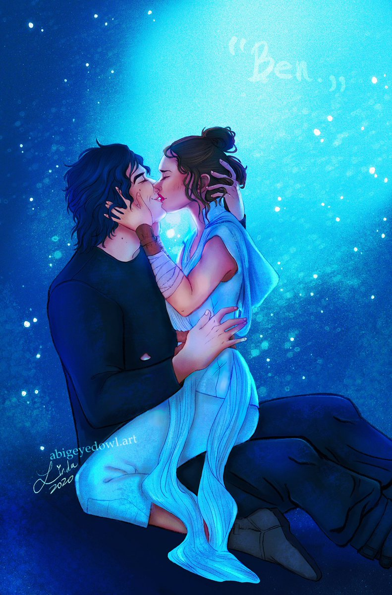 """""""So kiss me and smile for me Tell me that youll wait for me Hold me like youll never let me go."""" 💙✨ #reylo #reylokiss #BenSolo #Rey #BenSoloLives #BenSoloDeservedBetter #reylolove #TheRiseOfSkywalker"""