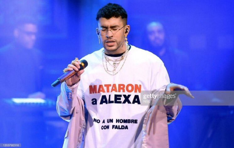 """Wow. Bad Bunny (@sanbenito) wore a skirt on the @FallonTonight with a sweater that read """"they killed Alexa, not a man with a skirt"""" Alexa was transgender woman in Puerto Rico ridiculed & killed, on her birthday, by murderers who videotaped the crime & posted it on social media. <br>http://pic.twitter.com/i2iBAmdVK5"""