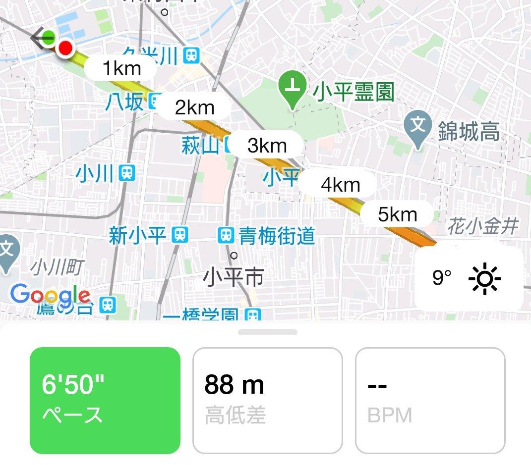 アプリの不具合で12kmが9.7kmしかカウントされていない。ツラい。pic.twitter.com/1cgZuBUgUg