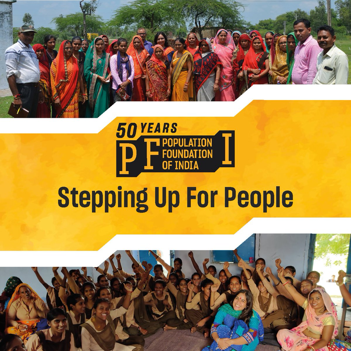 Proud to share, Population Foundation of India has turned 50 years. It could not have been possible without the amazing contribution of our partners & our entire team of PFI. Here's to achieving many more milestones together and stepping up for people. #SteppingUpForPeople