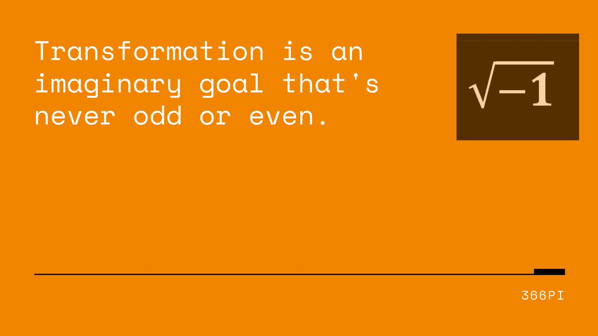 Transformation is an imaginary goal that is never odd or even. Do you know what's interesting about this statement? It applies to your transformation goal as well http://366pi.com/home/services/366pi-digital-transformation-services/ … #transformation #digitalstrategy #digitaltransformation #LiveDigital