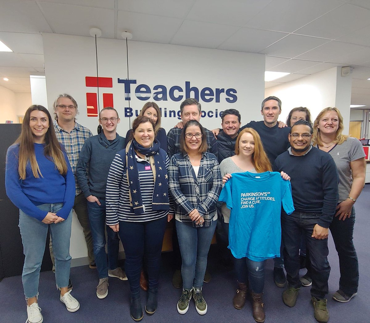 We're blue (da ba dee da ba daa) today at TBS HQ to raise money for @ParkinsonsUK! Great team effort for an amazing cause. Happy Friday all! 💙👖👗🐬🌊🌧 #happyfriday #parkinsonsuk #charity #mufti #blue #smurfs #teachersbuildingsociety