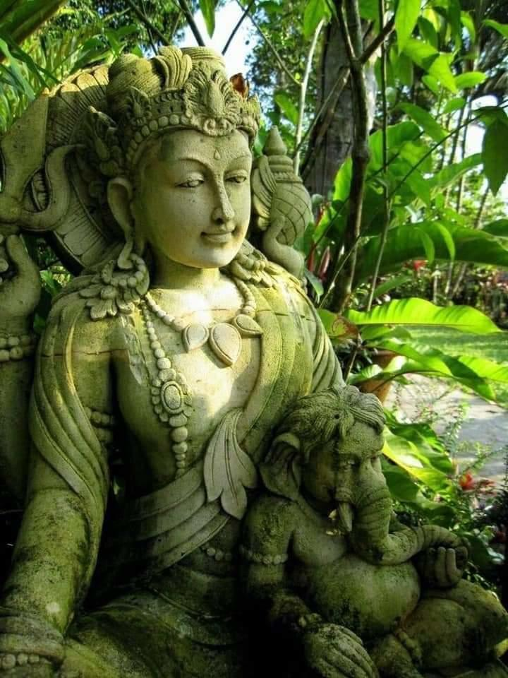 What a divine grace...!!   No..it's not in India..!!  Goddess Parvathi (Mother of Ganesha)  Sculpture at Villa Sarna Ubud, Bali, Indonesia. <br>http://pic.twitter.com/0ADtEg7Ty7