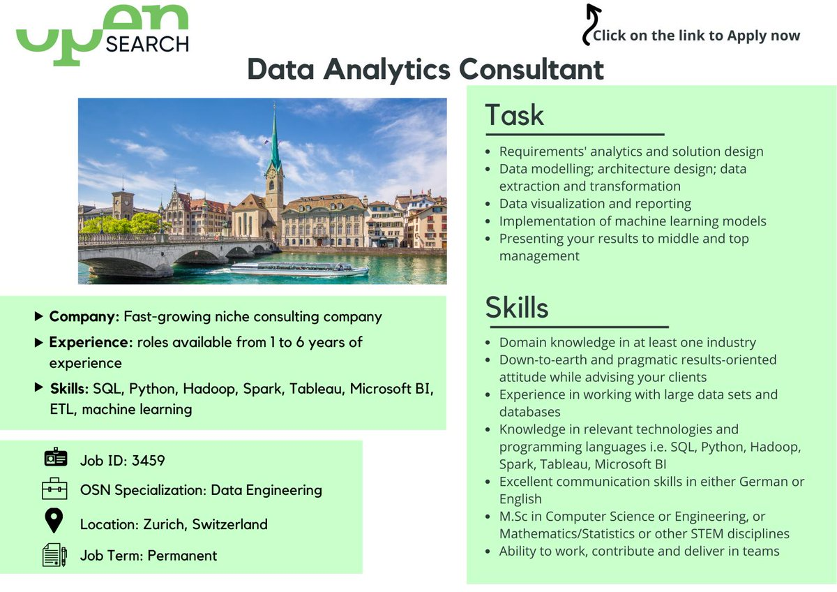 #JobOpportunity   Our Client is a consulting company working on the frontier of data-driven technology based in #Zurich.   They are looking for a Data Analytics Consultant. Read all the info & apply: https://sforce.co/3c7Oi0K   #jobrecruitement #jobopportunity #opensearchnetworkpic.twitter.com/FNG6DjFejJ