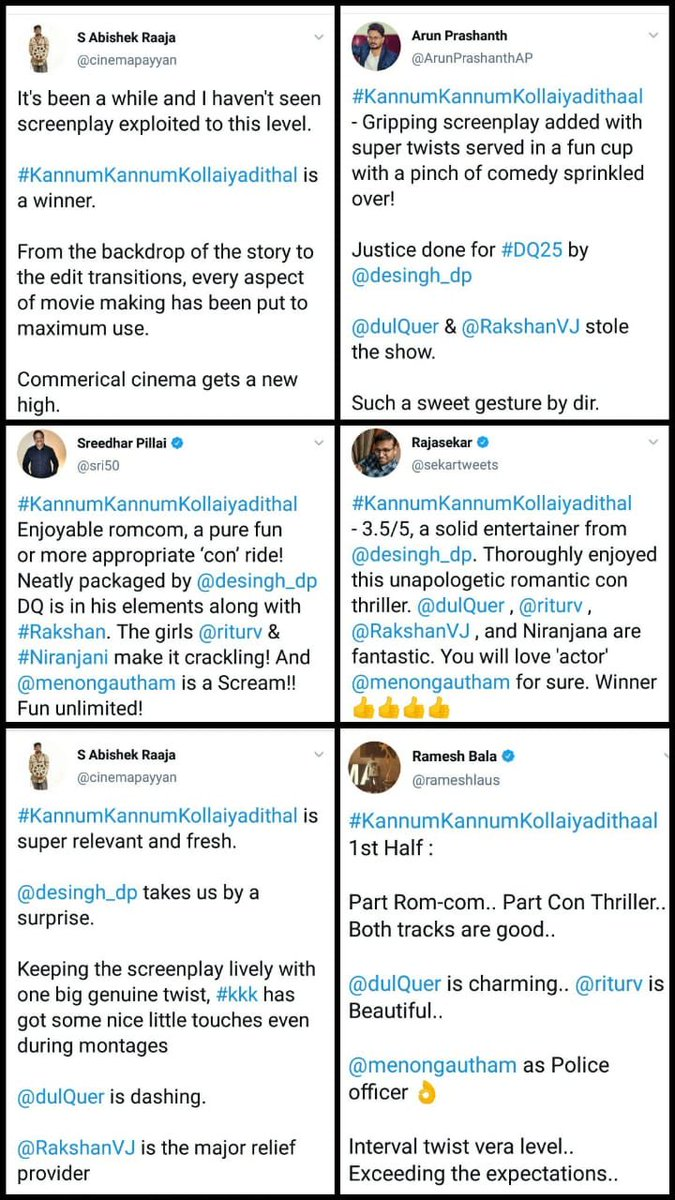 Everywhere Good Reviews #KannumKannumKollaiyadithal 👍🏼👍🏼👏🏽👏🏽😍 +ve reports #fun #love #thrilling #suspense #good #rating @basil4u @SuFidulQuerist @HaRiJHony_ @Sahal_dQ369  @YuNusKt_18 @TeamDQOP