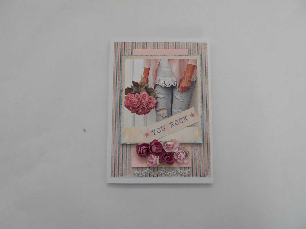 Excited to share the latest addition to my #etsy shop: Handmade greeting card for young woman, late teen to early 20's, girlfriend card, torn jeans and flowers, teen birthday  #papergoods #pink #birthday #blue #18thbirthday #teenbirthday #girlbir