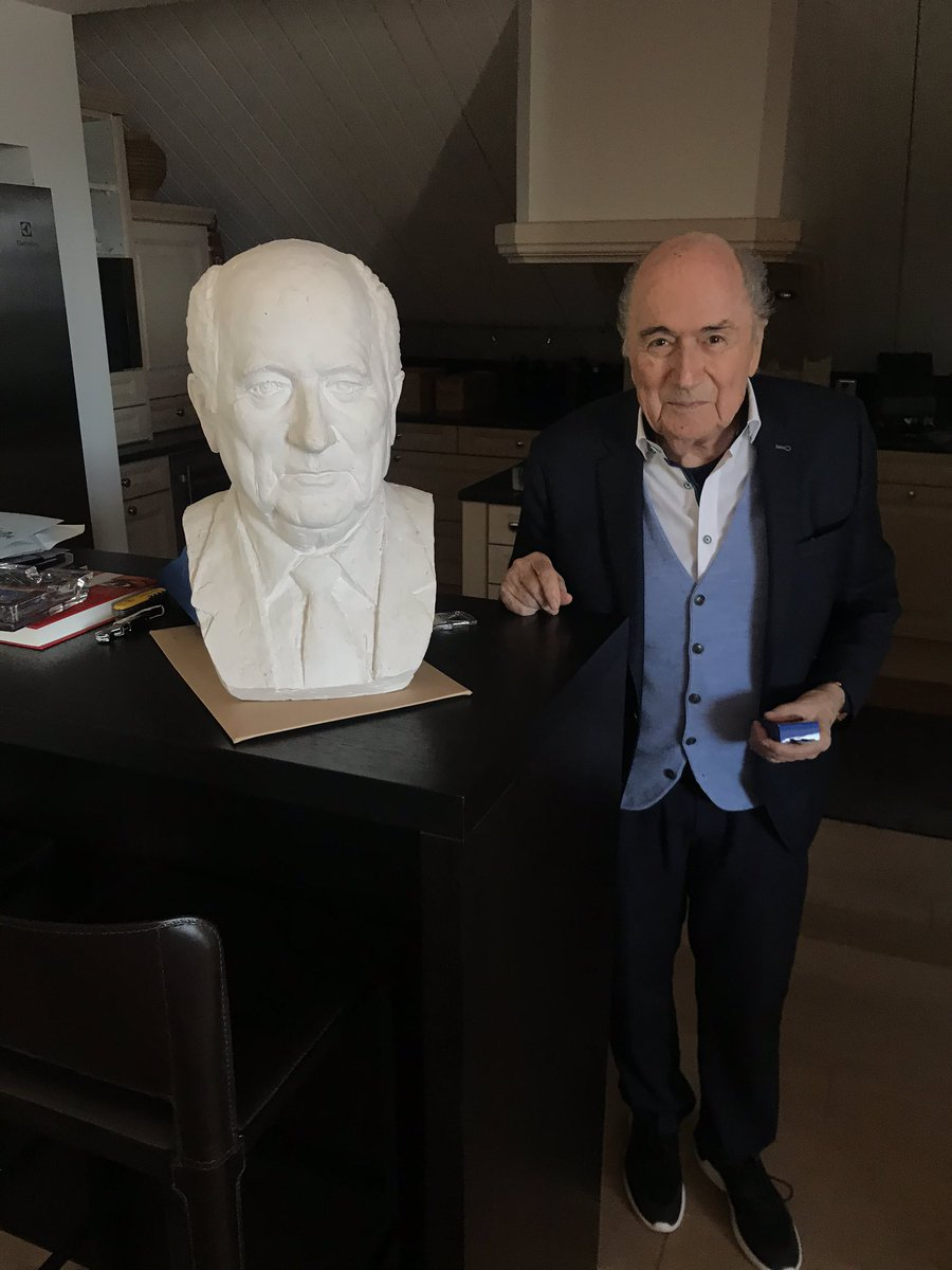 """I've just finished an interesting 95-minute conversation with former @FIFAcom President @SeppBlatter in his Zurich home. He had a few things to say about the state of @CAF_Online, @AAhmad_CAF, @fatma_samoura and his """"frenemy"""" Issa Hayatou, Ahmad's predecessor.pic.twitter.com/LbAeb0wfJF"""