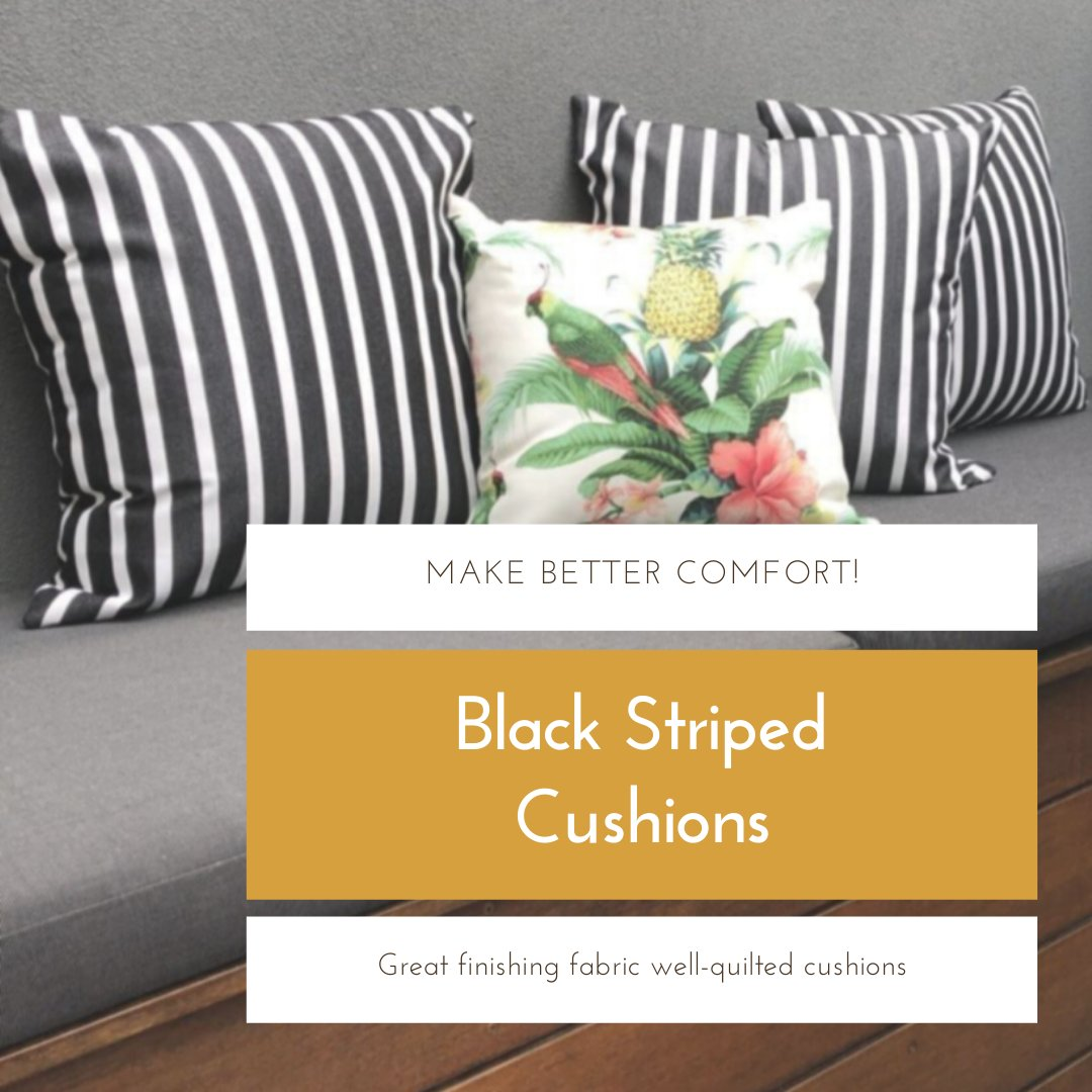Make your comfort better with our cushions. Black Striped #Cushion, specially designed for making your space different and luxurious look. Buy Online:
