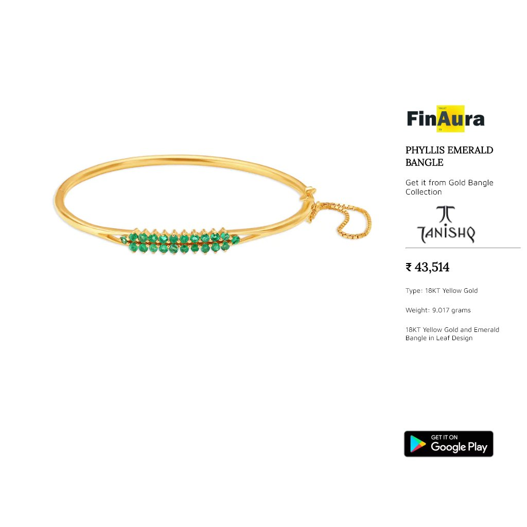 Catch everyone's gaze with this bangle. This simple and elegant bangle will add an unparalleled style to your beauty. Set in 22 Kt Gold (9.017 grams). For more details, please checkout our app http://tiny.cc/f_gdp  #goldjewellery #indianjewellery #tanishq #goldbangles #banglespic.twitter.com/MdxLqtbLqq