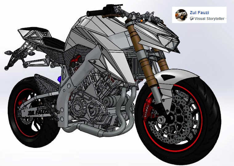 Hasil #design sobat solidworks @ Zul Fauzi  Sport Bike menggunakan SOLIDWORKS versi 2013  Follow IG @solidworks.info . YT Channel @PTArismaDataSetia . Fanspage @ADS.SolidWorks .  #solidworks #superbike #3Ddesign