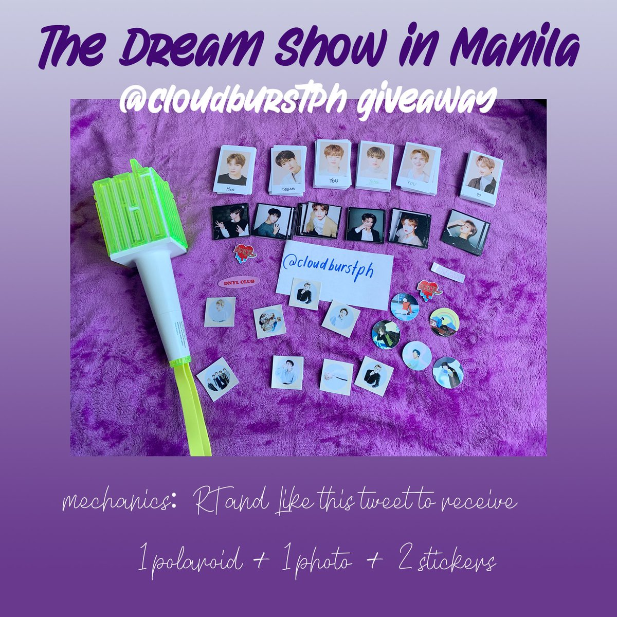 #NCTDREAMSHOWinMANILA GIVEAWAY   Mechanics: RT+Like this tweet to get 1 polaroid + 1 mini photo + 2 stickers   Location: TBA Time: 1 pm onwards and after the con for those who need to queue early  Just show proof on D-DAY   I'm also selling merch so dm for reservations  <br>http://pic.twitter.com/2SgDohxJAV