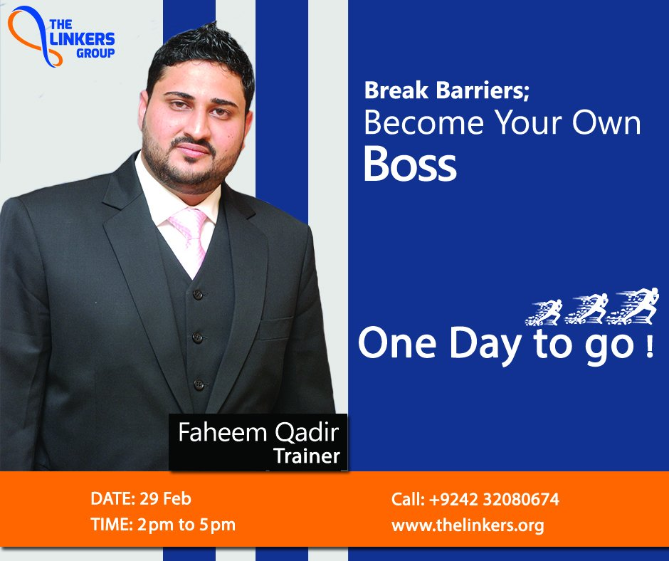 An intensive workshop on the Break Barriers; Become Your Own Boss. 1 day to go !   #breakbarriers #entrepreneurship #businessconsultant #Missinglinktogrowth #corporatetrainings #careerbuilding #trainingworkshop #roadtosuccess #organizationsuccess #thelinkers #huddlecowork https://t.co/SMOB3wzDha