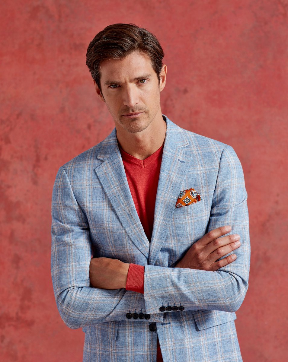 The Soncini Blazer features a blue rust check and is perfect for a smart casual look, accompanied with a shirt or t-shirt.  #menssuits #mensstyle #suitstyle #spring #summer #mensfashion #suit #springwardrobe