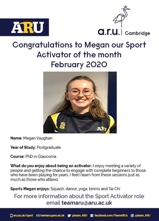 The Sport Activator of the month for February is Megan! Megan voluntarily leads the Cambridge weekly squash session and also takes part in as many other sessions as she can and brings new people along with her  Congratulations Megan and thank you for your hard work! pic.twitter.com/Bq7DYPovlu
