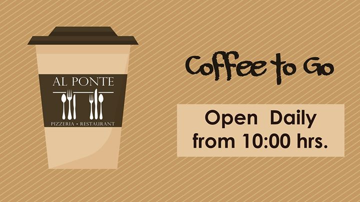 ☕️👣Al Ponte Coffee To Go. Open Daily from 10:00hrs☕️💤  #maritimantoninehotelandspa #alponte #restaurant #pizzeria #coffee #to #go https://t.co/e64paAfjTE