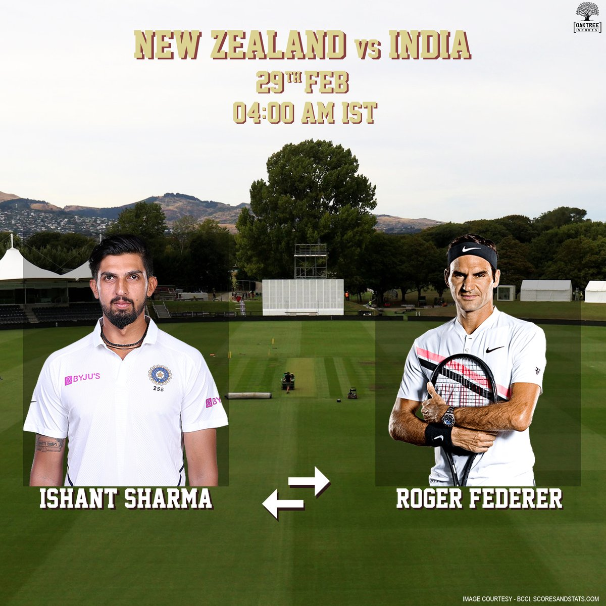 With the pitch covered in grass, we think we've found the right candidate to replace Ishant Sharma in tomorrow's Test! 🏏We've heard he's got good swing too! 😉#OaktreeSports #IshantSharma #RogerFederer #NZvIND @rogerfederer