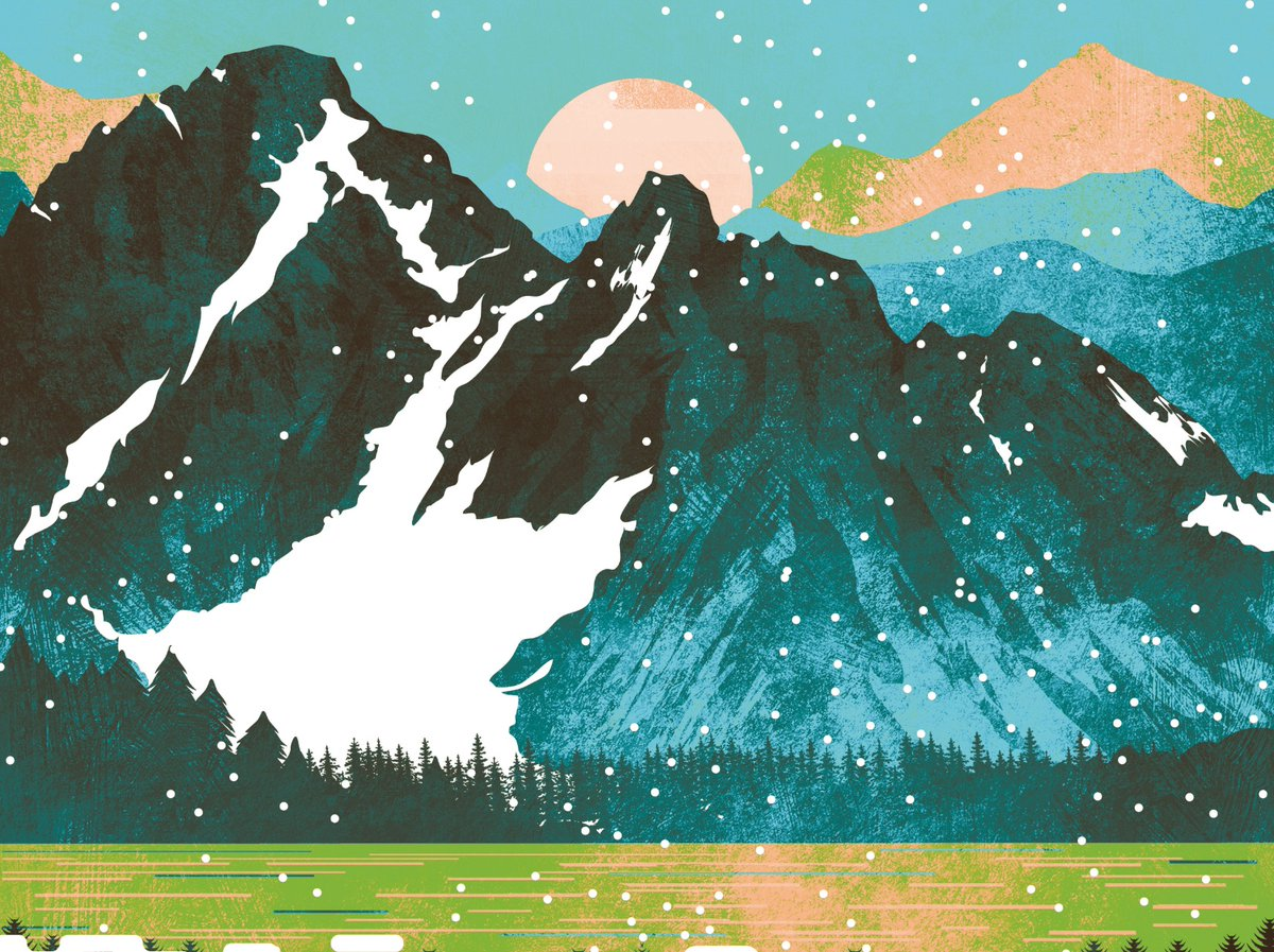 In honour of yesterday's smattering of snowfall - detail from 'Peak' on the #enjoyrelaxstore 🏔️🌨️❄️ http://bit.ly/2PxZB8G  . #snow #snowfall #peak #landscape #illustration #poster #print #rockies #lake #mountain #mountainside #forest #trees #travel #wanderlust #snowday