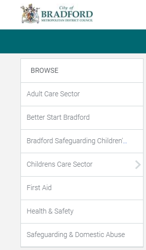 The categories are: Adult Care Sector, Better Start Bradford, Bradford Safeguarding Children's Board, Childrens Care Sector, First Aid, Health Safety, Safeguarding & Domestic Abuse.